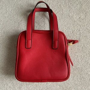 Boxy Red Purse with Crossbody Strap
